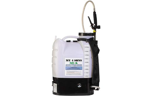 M4 MY4SONS 4-Gallon Battery Powered Backpack Sprayer Wide Mouth with Steel Wand and Brass Nozzle
