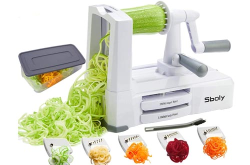 Sboly Vegetable Spiralizer, 5-Blade Zoodle Maker Zucchini Spaghetti Maker Veggie Pasta Maker