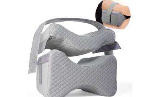 Knee Pillow w/ Strap - New 3-Level Contour Memory Foam Leg Separator