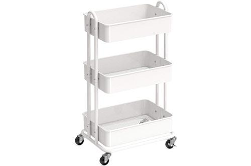 SimpleHouseware Heavy Duty 3-Tier Metal Cart, White
