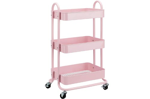 AmazonBasics 3-Tier Rolling Utility or Kitchen Cart - Dusty Pink