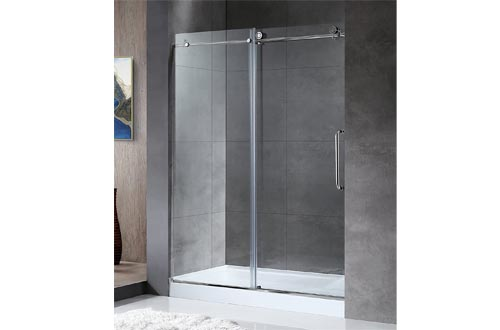 ANZZI Madam 76 x 48 inch Frameless Sliding Shower Door in Polished Chrome with Handle