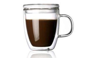 Borosilicate Glass Coffee Mug with Lid Handle