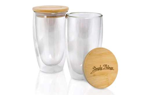 Simply Things Double Wall Insulated Borosilicate Glass with Bamboo cover