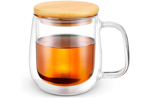 Glass Coffee & Tea Cup with Wooden cover