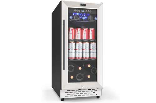 130 Cans Capacity Freestanding and Built-in Mini Fridge with Glass Door for Soda Beer Wine or Water