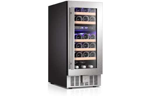 28 Bottles Dual Zone Built-in Freestanding Stainless Steel Double-Layer Tempered commercial beer refrigerator