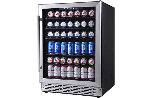 Phiestina 24 Inch Beverage Cooler Refrigerator - 175 Can Built-in or Free Standing Beverage Fridge with Glass Door for Soda Beer or Wine