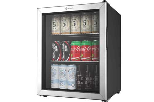 Double Layered Glass Door Mini Fridge for Can Drinks - with Adjustable Shelves and User-Friendly Temperature Knob