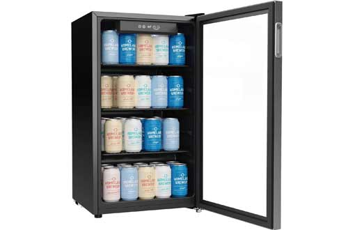 120 Can Mini Fridge with Glass Door for Soda Beer or Wine - Small Drink Dispenser Machine for Office or Bar