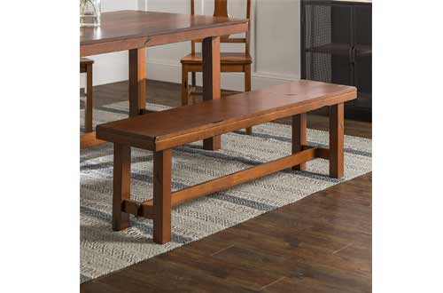 Walker Edison Furniture Rustic Farmhouse Wood Distressed Dining Room Kitchen Bench
