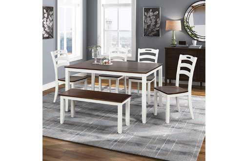 Merax Dining Table Set, 6 Piece Wood Kitchen Table Set Home Furniture Table Set