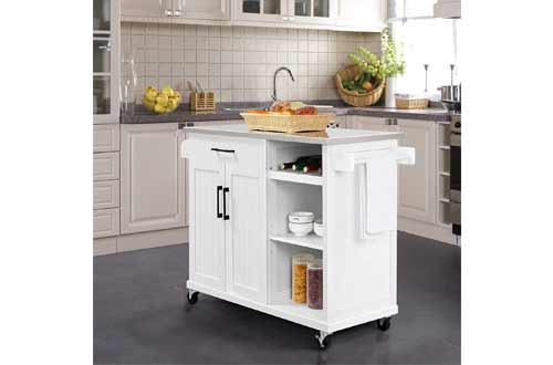 YAHEETECH Kitchen Cart with Stainless Steel Top