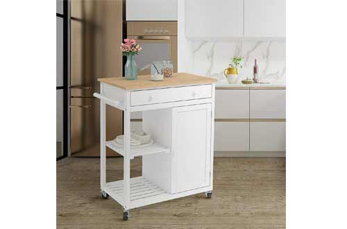 Rolling Utility Trolley on Wheels with Storage Drawer
