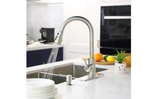 High Arc Single Handle Kitchen Sink Faucet with Deck Plate