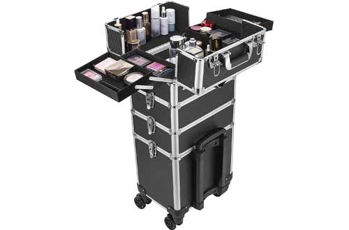 VIVOHOME 4 in 1 Makeup Rolling Train Case
