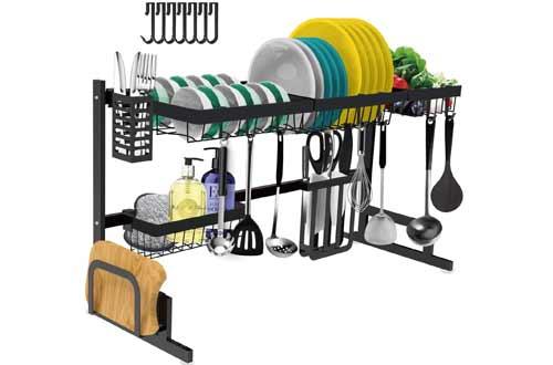 Adjustable Large Dish Rack Drainer for Kitchen